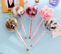 diy creative stationery personalized Novelty design floral plush Lollipop shaped Ballpoint pen best promotional gifts gel pens