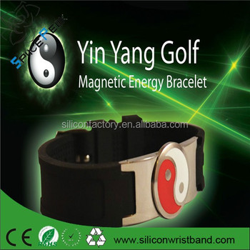 Golf Magnetic Energy Bracelet Health Sports Band Jewellery Silicone Yin Yang Magnet