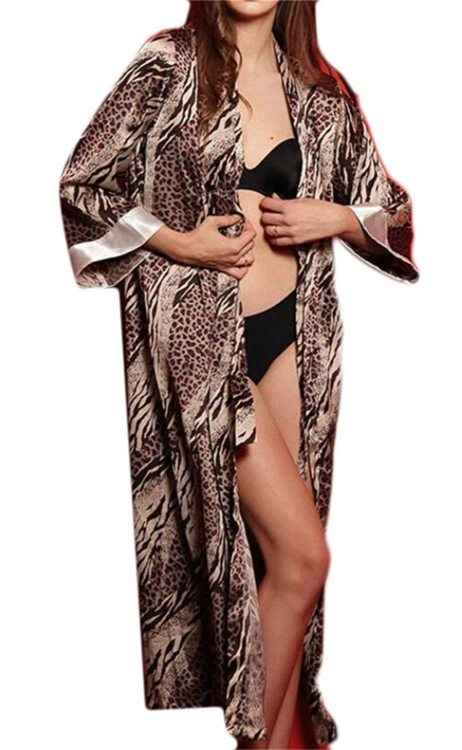 e64ccecd5e MLG Womens Satin Silk Leopard Print Nightdress Bathrobe Pajamas Robes