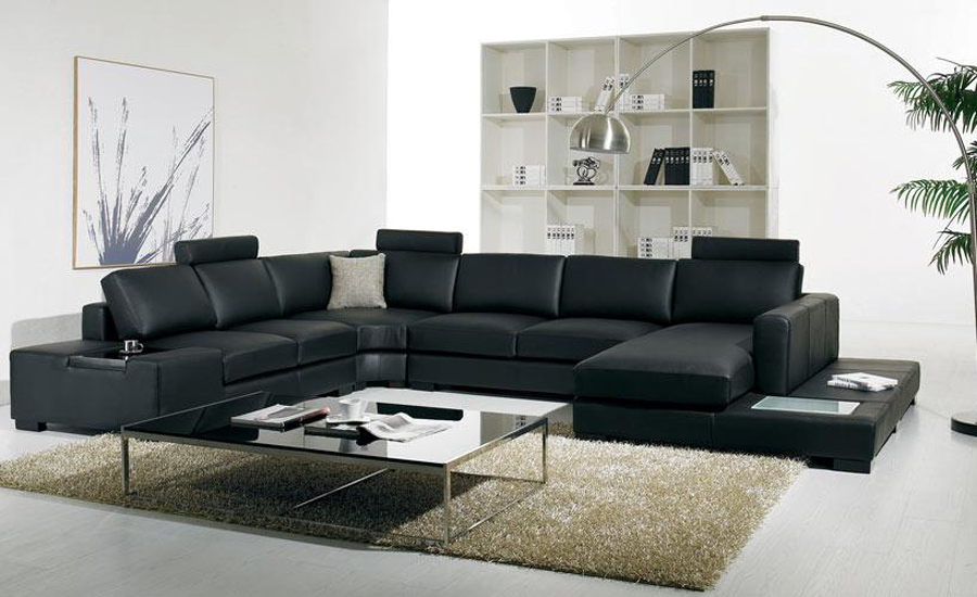 schwarz leder sofa moderne gro e gr e u. Black Bedroom Furniture Sets. Home Design Ideas