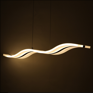 led modern wave acrylic/wood pendant light for dining room, living room