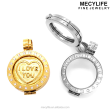 MECYLIFE fashion stainless steel hollow pendant locket coin holder pendant