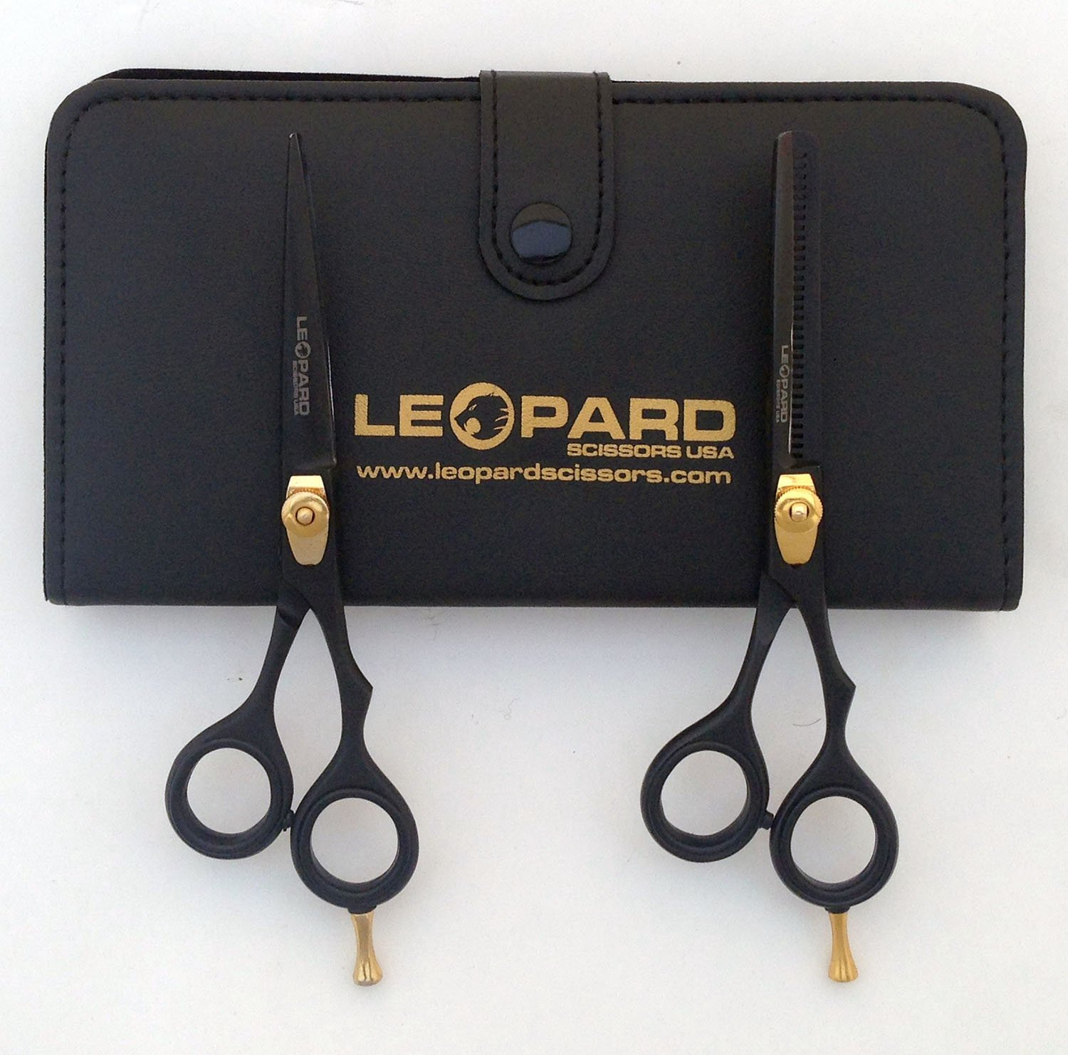 "Professional Hairdressing Right Hand Scissors & Thinner Hair Cutting Shears Barber Salon Styling Scissors Set 6.0"" Japanese Steel with Free Case Leopard Shears Ls-540"