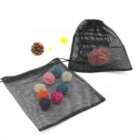 Custom drawstring mesh pouch small bag Black Nylon Polyester mesh drawstring bag