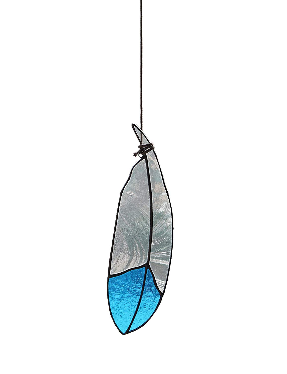 Stained Glass Window Hangings Window Decorative Ornaments Stained Glass Feather Glass SunCatcher for Window Treatment, 7.1'' Inch (Blue)