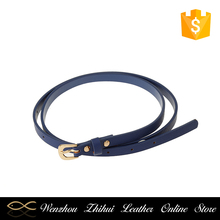 Top sale superior quality cheap skinny fancy blue women pu leather belt