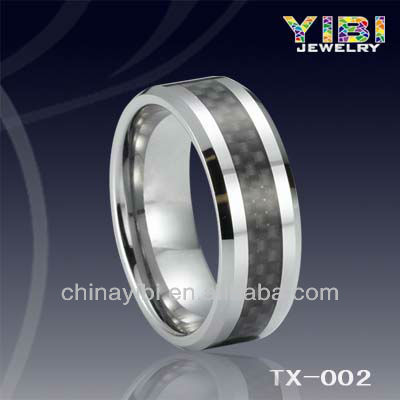 Black Carbon Fiber Inlay Tungsten Ring wedding bands 3mm IP Plated unique men pipe cut king and queen rings