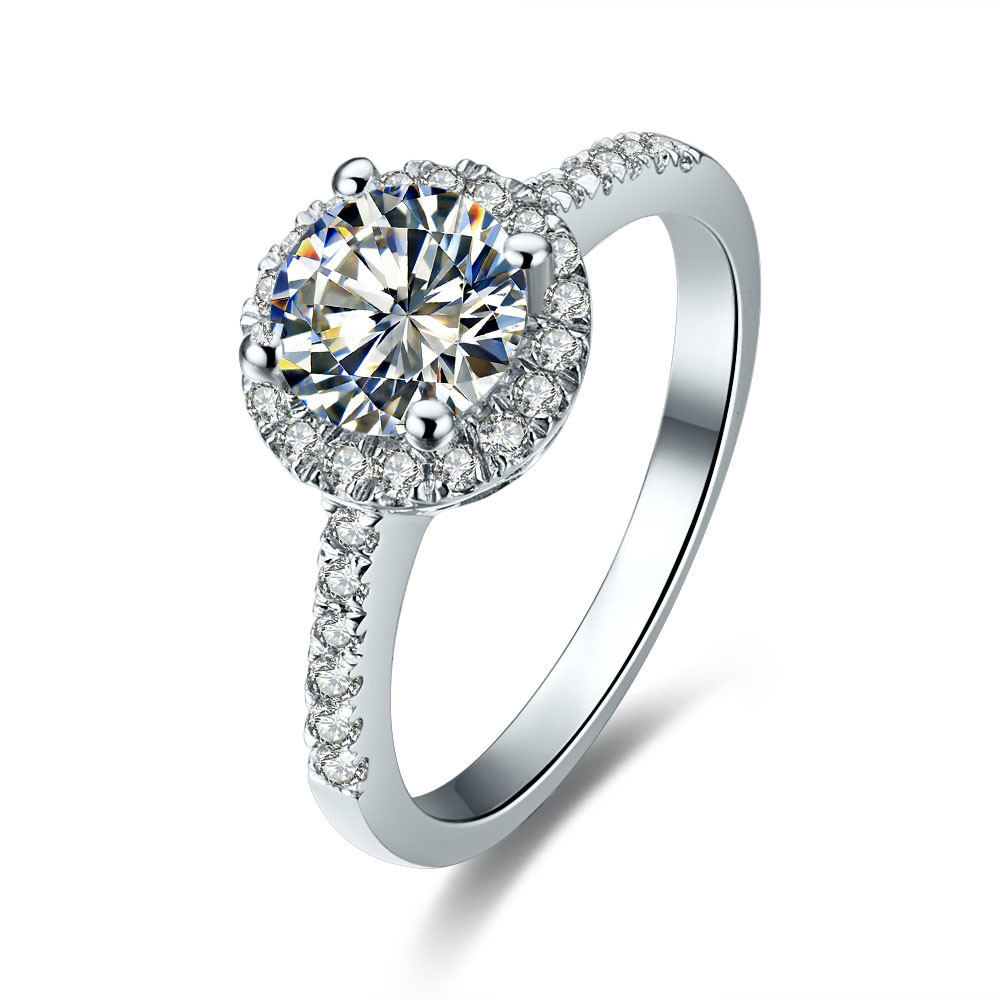 nice looking classic 1ct round cut moissanite gold ring for women solid 18k white gold. Black Bedroom Furniture Sets. Home Design Ideas
