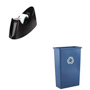 KITRCP354074BLUUNV15001 - Value Kit - Rubbermaid Slim Jim Recycling Container (RCP354074BLU) and Universal Desktop Tape Dispenser (UNV15001)