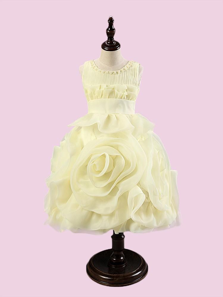 Venta al por mayor niñas vestidos de partido amarillos-Compre online ...