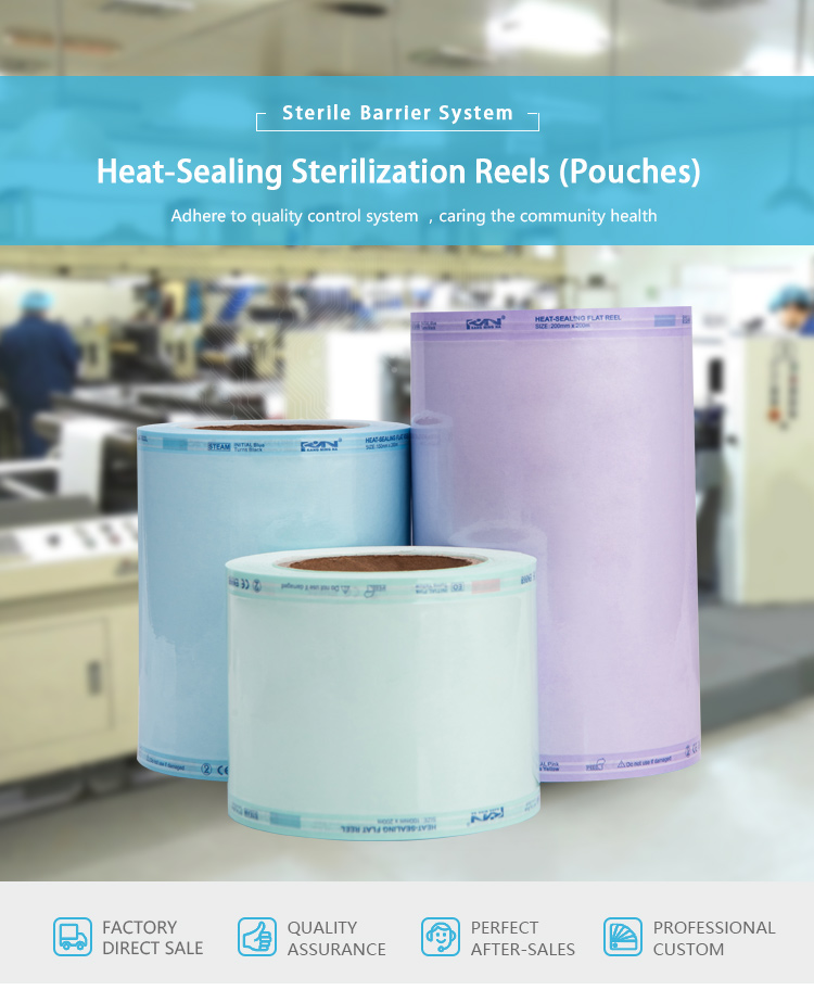Disposable autoclave sterilization flat reels for medical use