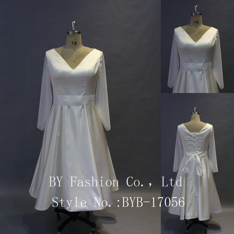 2017 Alibaba wholesale new style gros grain belt long chiffon sleeve lace up knee length Satin wedding dress