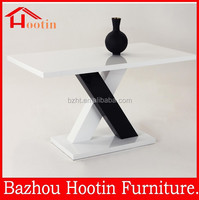 Black and white mixed leg high gloss mdf dining table for sale