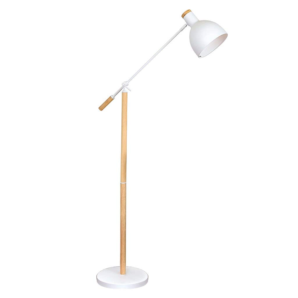 Edge To Floor lamp Nordic Floor Lamp Post-modern Simple Floor Lamp Living Room Bedroom Floor Floor Lamp Creative Reading Vertical Floor Lamp, Solid Wood Floor Lamp (Color : White)