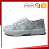 Fascinating girl silver sneaker with brush leather Casual leather upper canvas