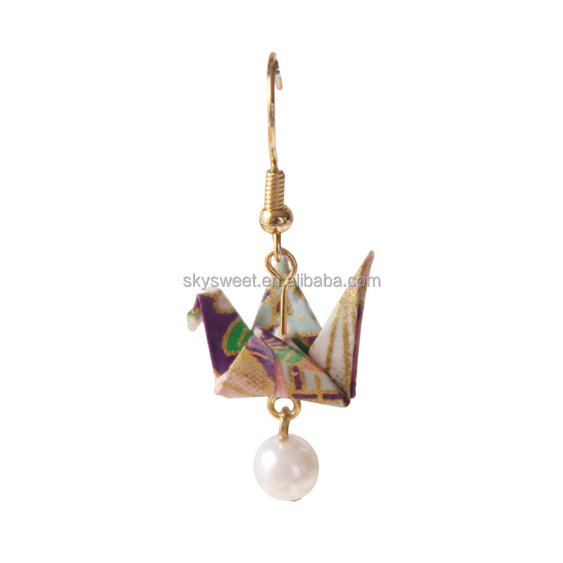 pearl jewelry wholesale handmade paper crane earrings Japanese girls waterproof cute earrings(SWTAA3672)
