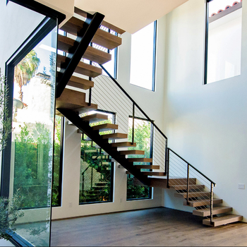 Customized Teak Wood Staircase With Stainless Steel Railing Staircase  Handrail