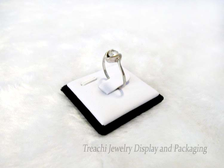 Retail One Piece Jewelry Display Ring Holder Case in White PU with Black Velvet 4*4CM, Great for Fashion Jewelry Photograph