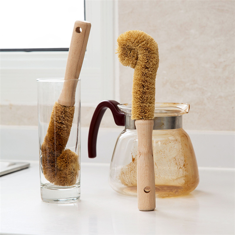 High quality  coconut brush Wooden handle coconut fiber cleaning brush