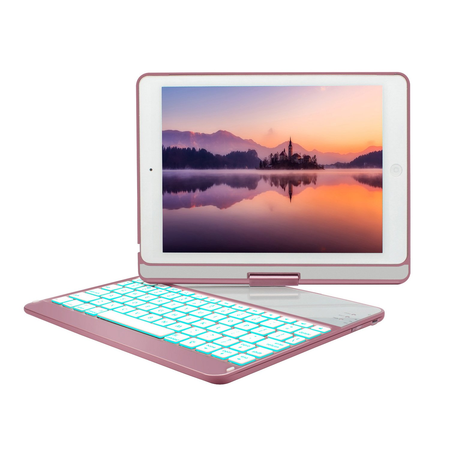 New iPad 9.7 Keyboard Case (2017,2018), GreenLaw 7 Color Backlit Keyboard Case Cover 360 Rotate Smart Keyboard Case with Auto Wake/Sleep for iPad pro 9.7, New iPad 2018, ipad 2017, iPad Air, Air 2