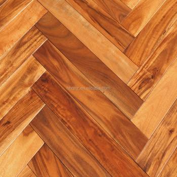 Acacia Asian Walnut Herringbone Golden Brush Solid Wood Flooring