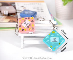 60 Inch/150 cm Push Button Pocket Soft Retractable Cute Mini Promotional Square Tape Measure with Key-chain for Measuring Tool