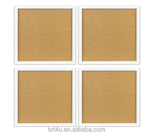 Cork Board / Bulletin Board - 4x Beautifully Framed 12 x 12-Inch Tiles - Reinforced Frame