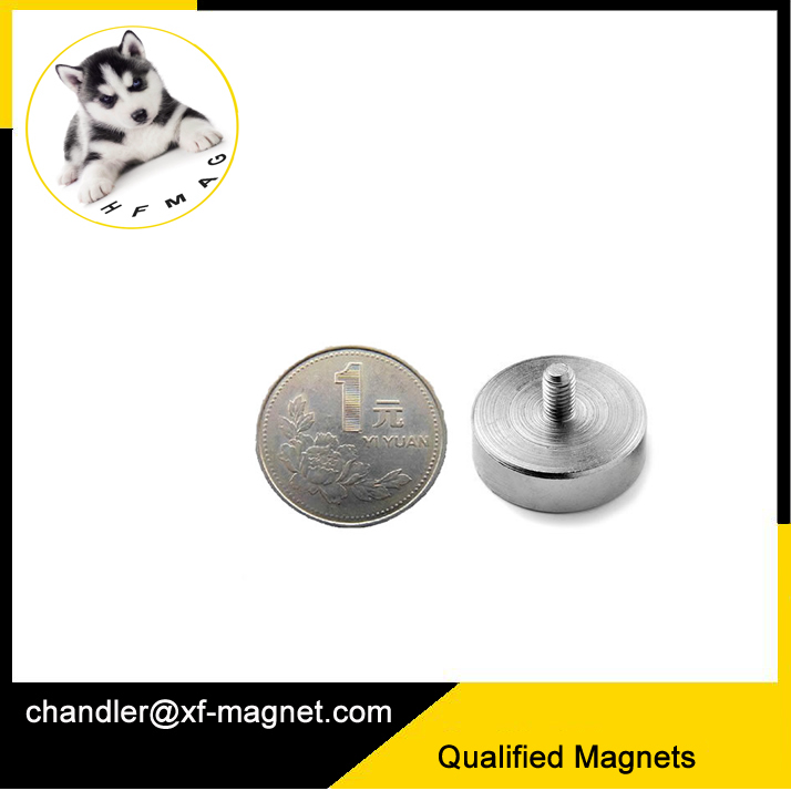 D48mm screw <strong>hole</strong> magnet with outside thread 160lbs permanent magnet