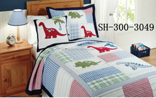 Cute Dinosaur Plaid Patchwork Quilt for Child with pvc Bag