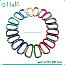 Assorted Colors D Shape Spring-loaded Gate Camping Aluminum Carabiner Keychain