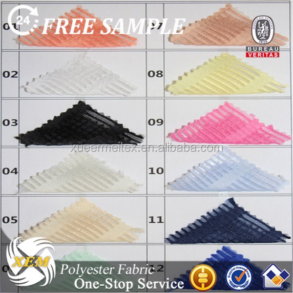 Polyester Colourful Stripe Organza Fabric for Women and Children's Garments