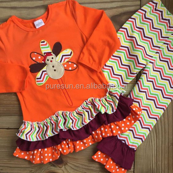4034d29299000 Hot sale baby girls fall turkey applique ruffle clothes wholesale  children s boutique thanksgiving outfits