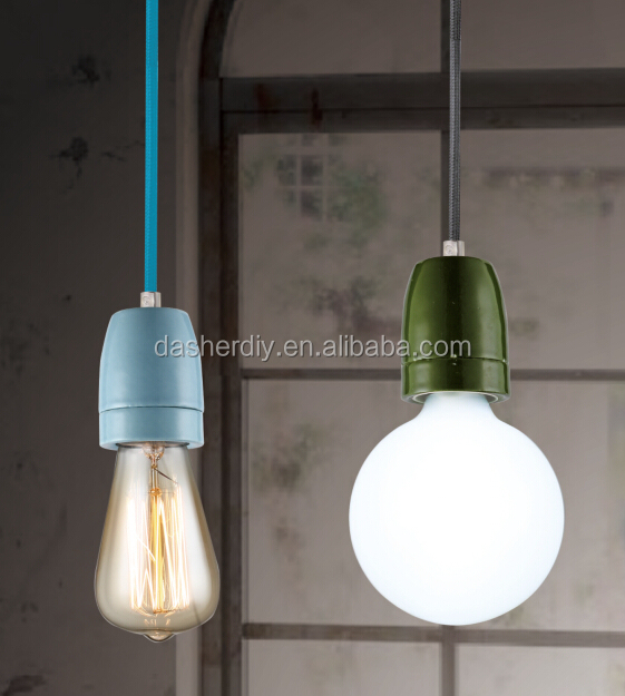 Colorful ceramic pendant lamp/texible fabric cable with E27 ceramic lamp socket+LED bulb