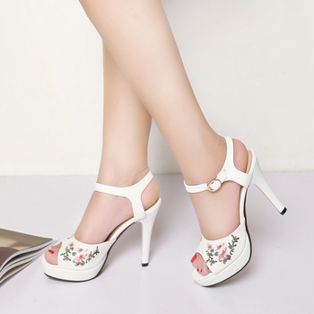 Lady Girls Floral Pattern Fancy High Heel Sandals Summer Women Ankle Strap  Casual Dress Shoes