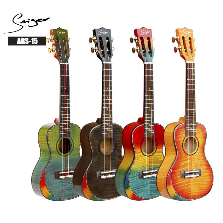 Custom brand Christmas promotion rainbow color concert ukulele with arm rest bevel