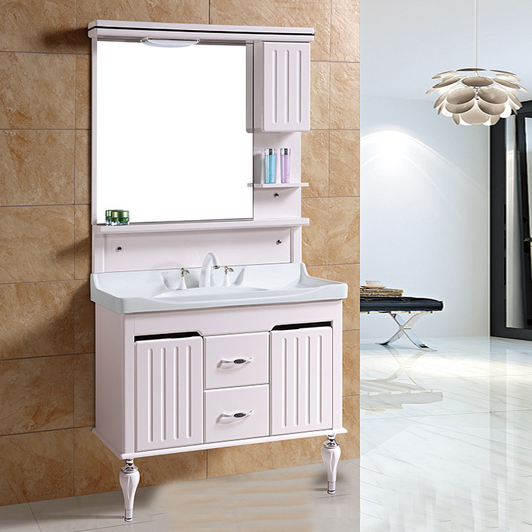 Pink Floor standing chinese bathroom vanity with mirror