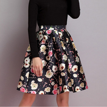 410981b24 B10894A Latest high waist black floral skirt design women elegant floral  print skirt