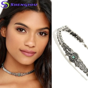 Hot Wholesale Boho Jewellery Double Arrow Target Small Blue Stone Rhinestone choker Necklace