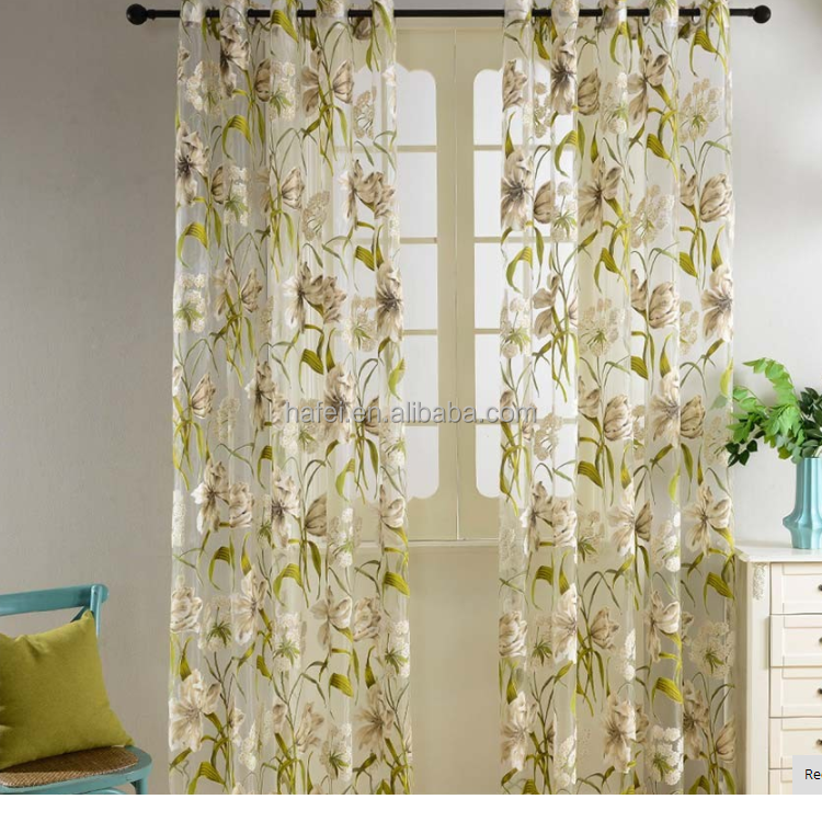 floral semi sheer living room ready made curtains for home