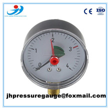 CE & ISO certified 60MM medical oxygen pressure gauge with red pointer