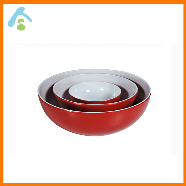 Wall-Thin Widemouthed Red Outside White Inside Melamine Salad Bowl Set
