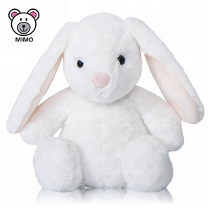 Private Label Adorable White Bunny Rabbit Plush Soft Toy Fashion New 2019 Easter Gift Cute Long Ear Plush Stuffed Rabbit Toy