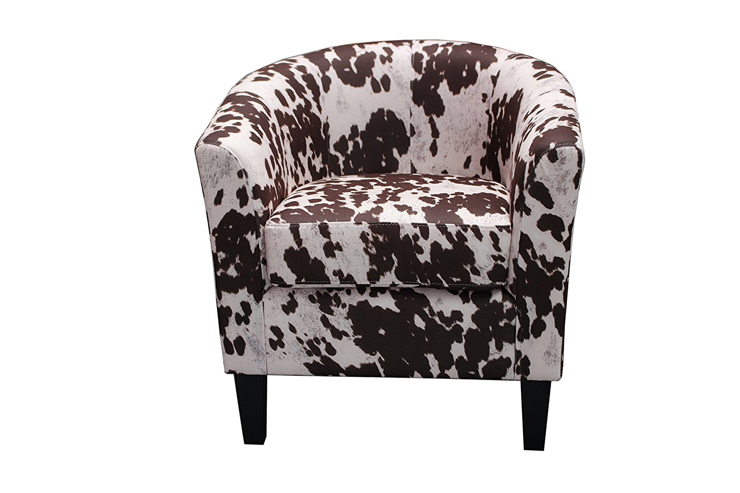 Container Furniture Direct Aisley Collection Traditional Classic Upholstered Cowhide Patterned Fabric Barrel Back Living Room Accent Arm Chair, Dark Grey