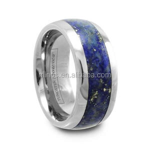 2017 New Design Stainless Steel Lapis Lazuli Stone Inlay Tungsten Ring