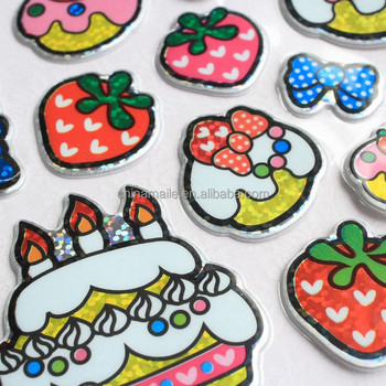 Happy Birthday Cakes Shape Kids Cute Puffy Stickers Foam Sticker For Gift