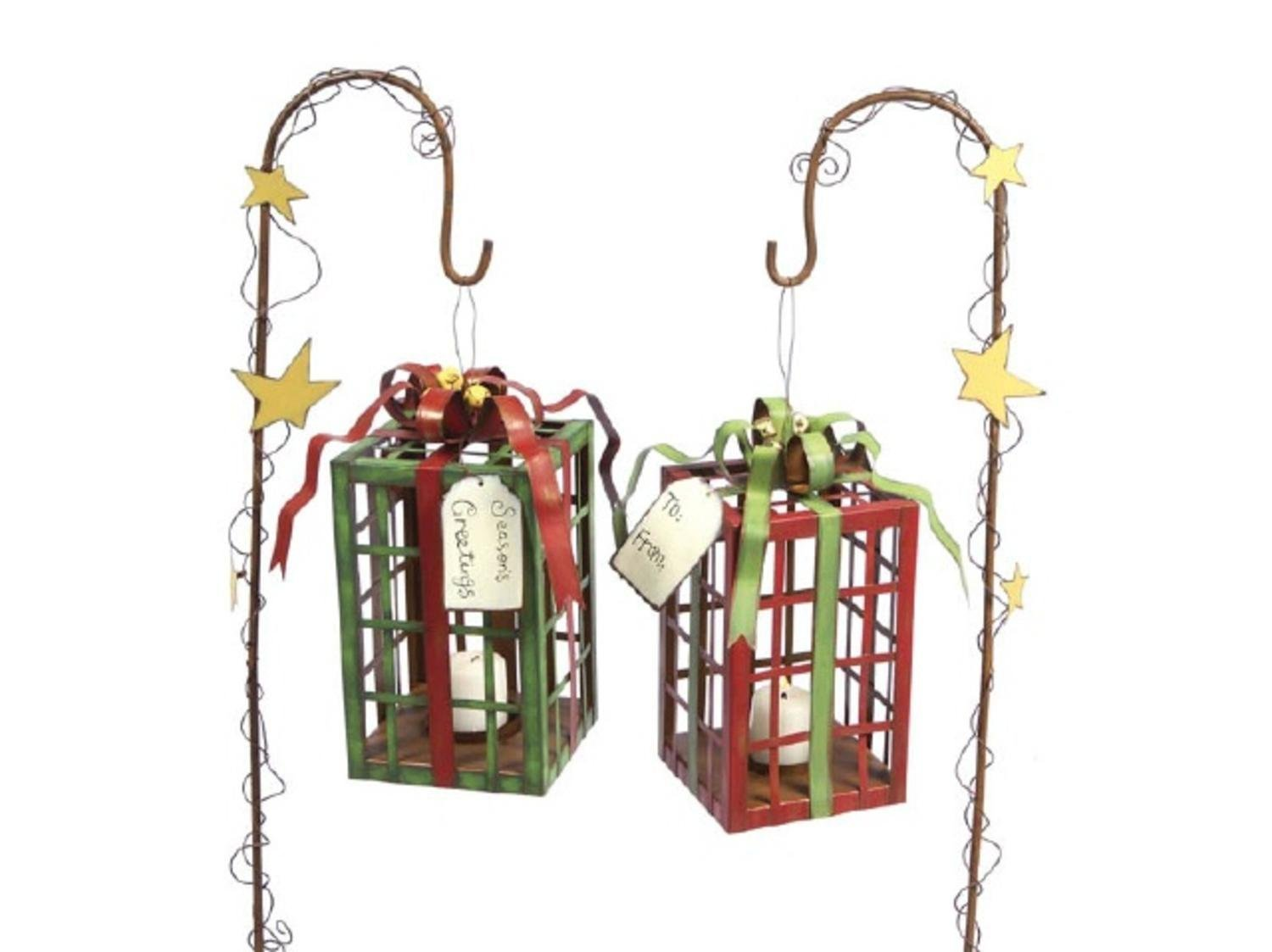 Get Quotations · Set Of 2 Christmas Gift Box Hanging Lantern Tea Light  Candle Holders With Stakes