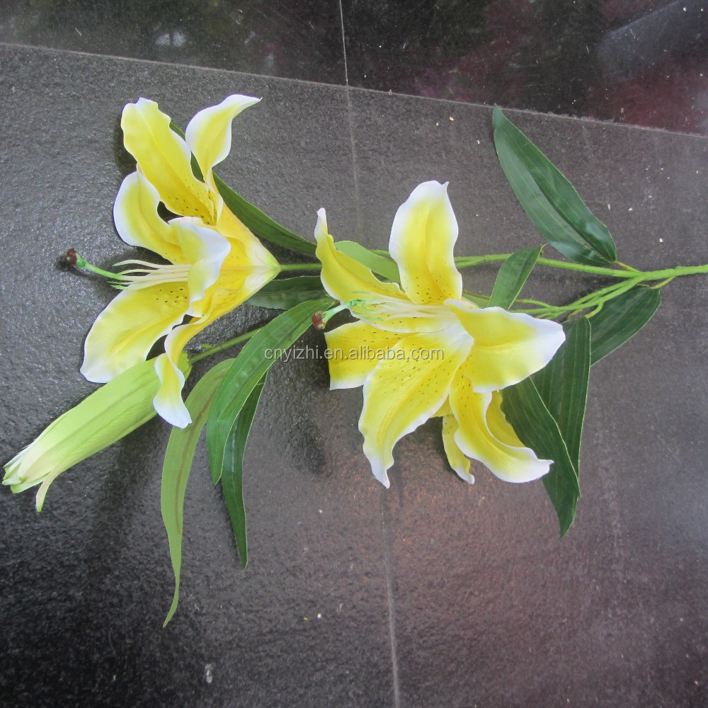 Artificial Tiger Lily Wholesale Plastic Yellow Fake Easter Lily ...