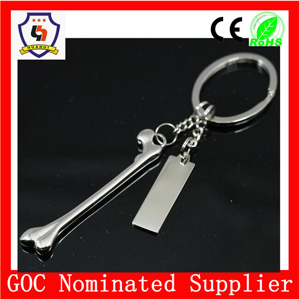Zinc alloy made customized logo dog bone metal keychain free anime movies (HH-key chain-1006)