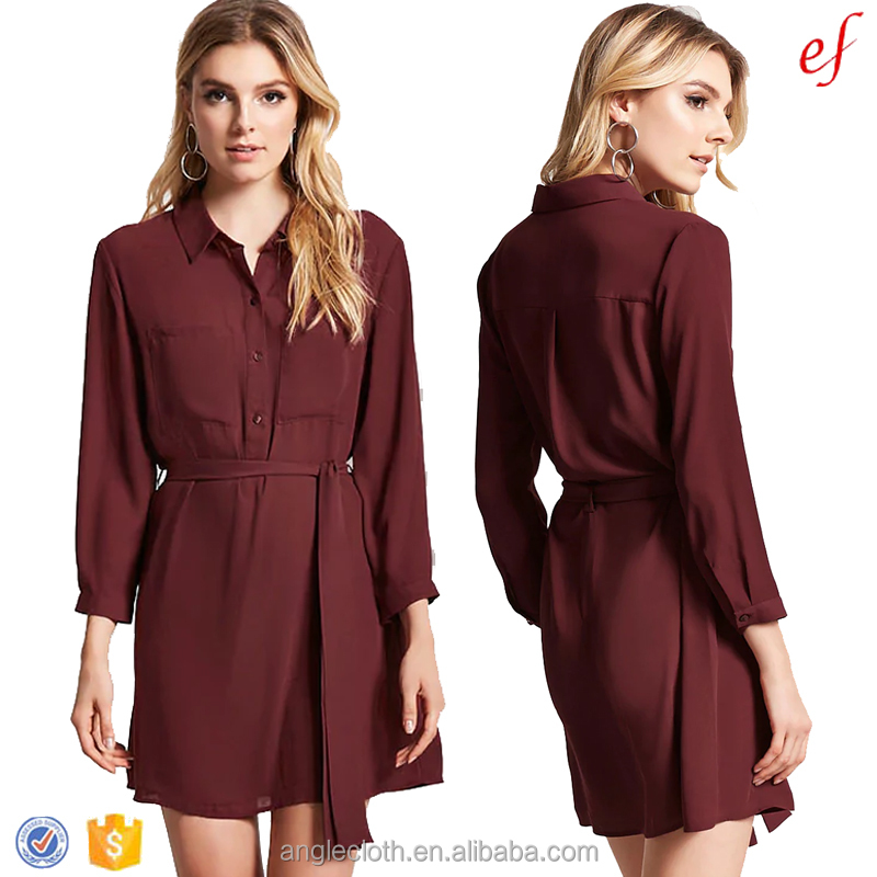 Belted Shirt Dress, Belted Shirt Dress Suppliers and Manufacturers at  Alibaba.com