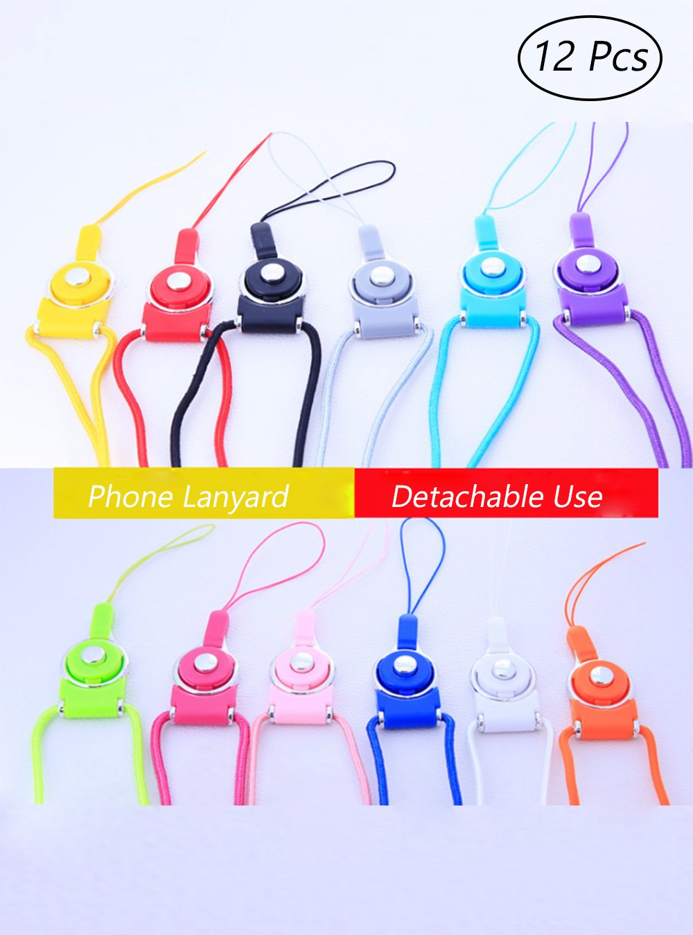 OAIMYY Detachable Cell Phone Long Lanyard Neck Strap for Cell Phone Case/ ID Card Badge/Keychain Charms (12Pcs-Random color)